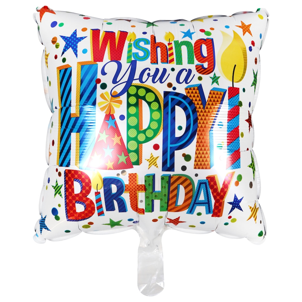 Happy Birthday Candles Foil Balloons With Attached Ribbons 18 In
