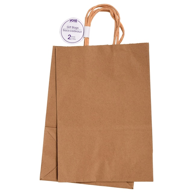 Medium Natural Kraft Paper Gift Bags 2 Ct Packs