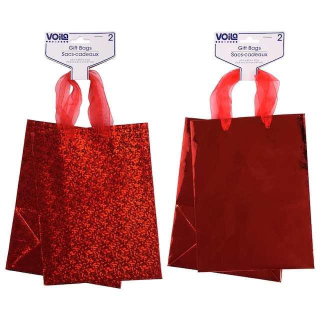 Voila Medium Red Foil And Holographic Gift Bags 2 Ct Packs