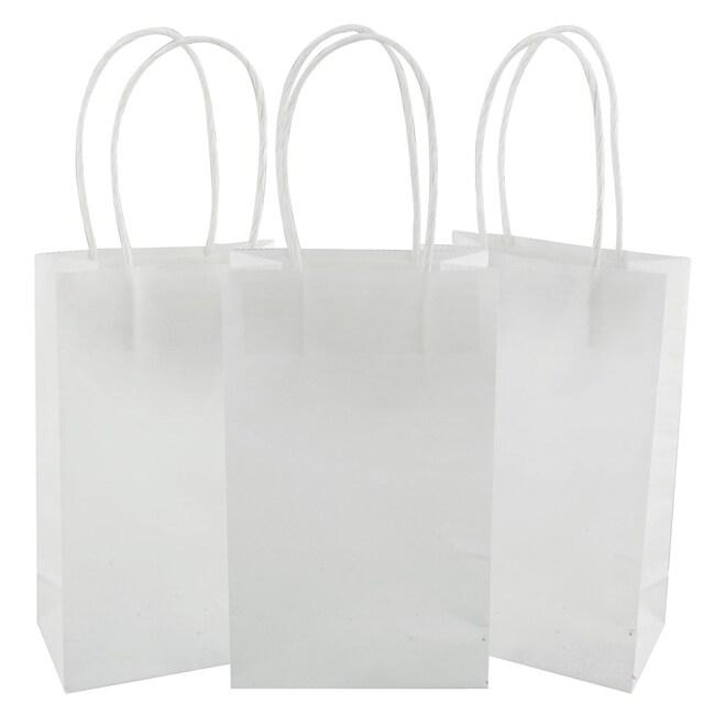 Small White Kraft Paper Gift Bags 3 Ct Packs