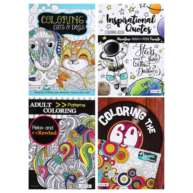 Bendon Relax and Rewind Adult Coloring Books, 32 Pages