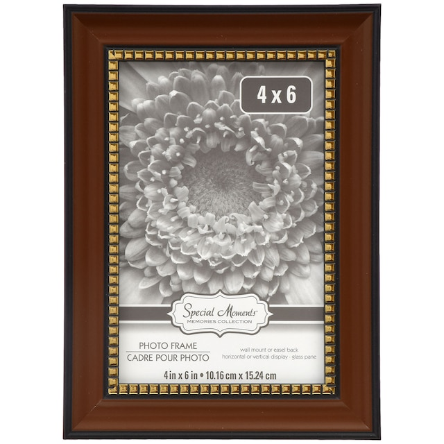 Special Moments Brown Picture Frames with Gold Beaded Inner Edges, 4x6 in