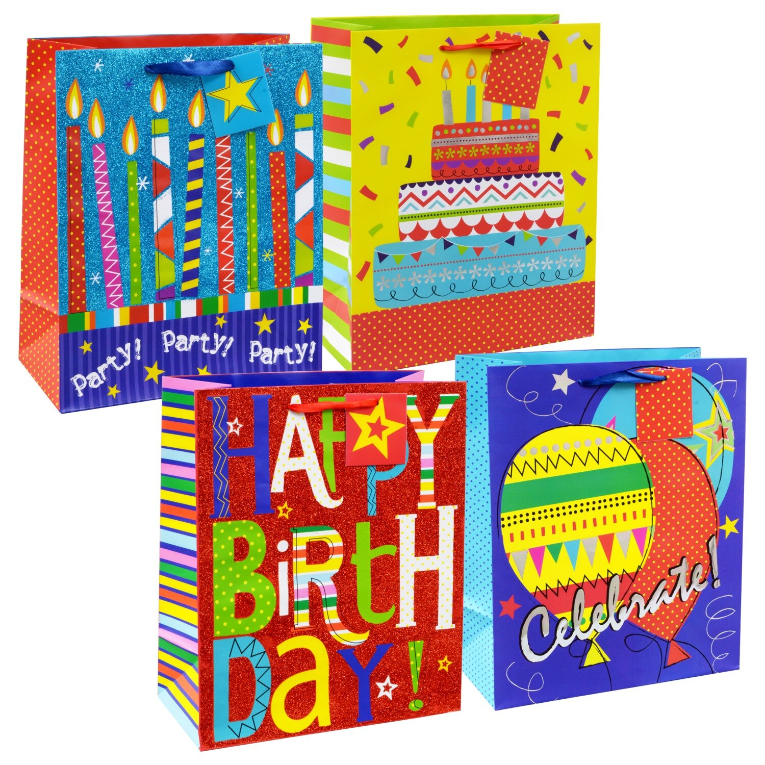 Voila Large Colorful Whimsical Birthday Gift Bags