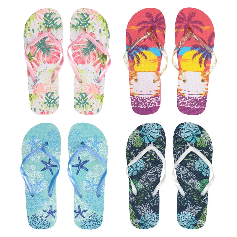 4665dacea Ladies  Tropical Print Fashion Rubber Flip Flops