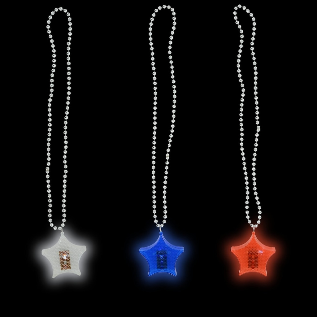 Patriotic Flashing Star Beaded Necklaces
