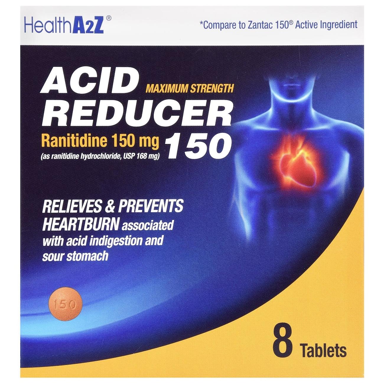 Health A2Z Maximum Strength Acid Reducer, 8-ct  Packs