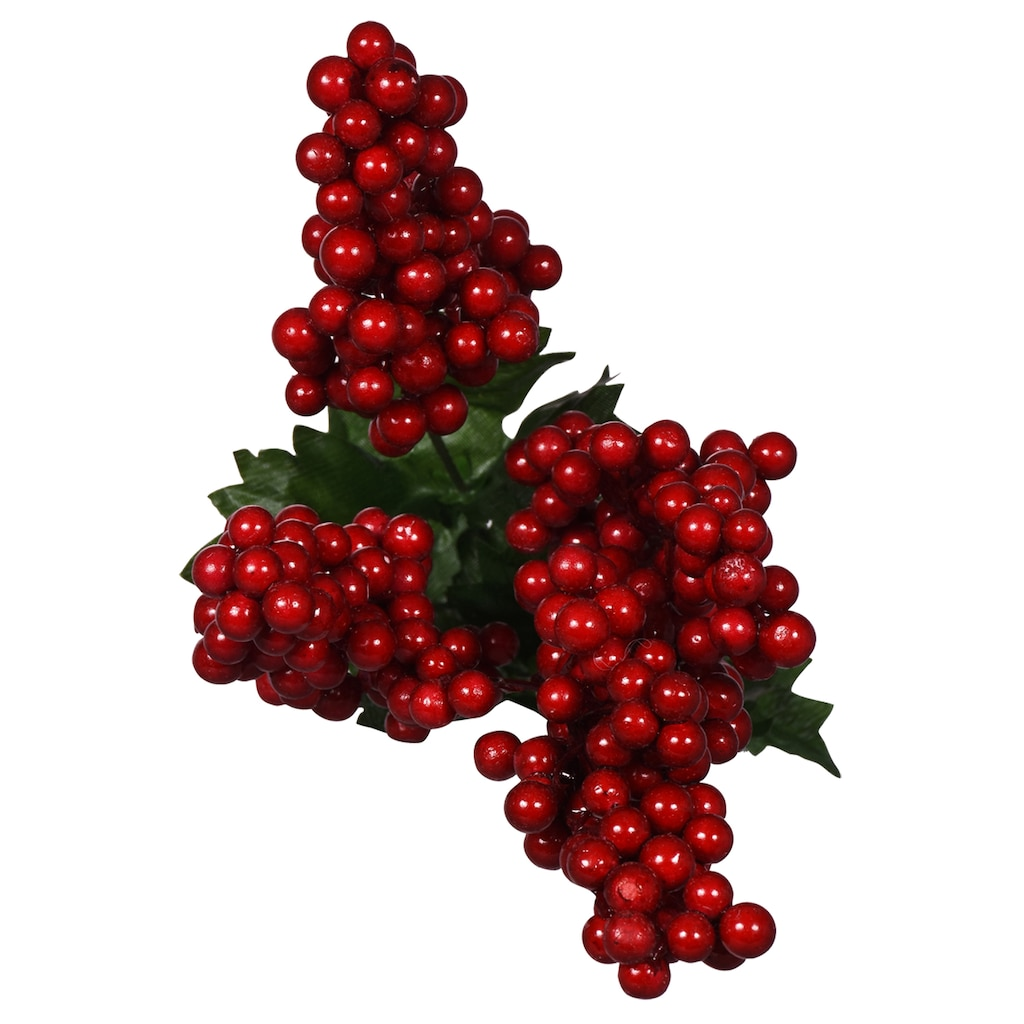 Christmas House Artificial Red Glossy Berry Bushes 16 In