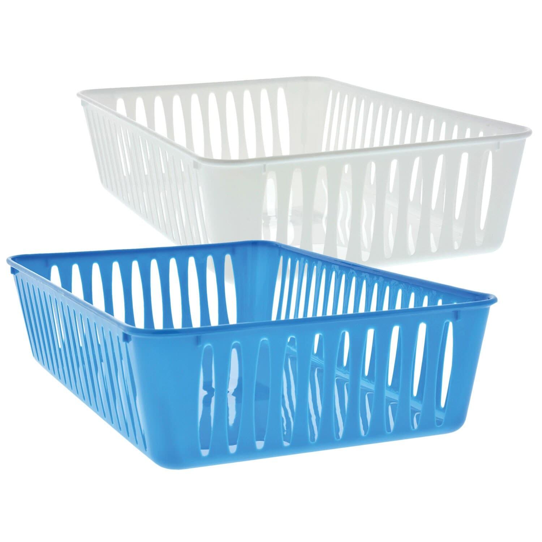 Rectangular Slotted Plastic Baskets 2 Ct Packs