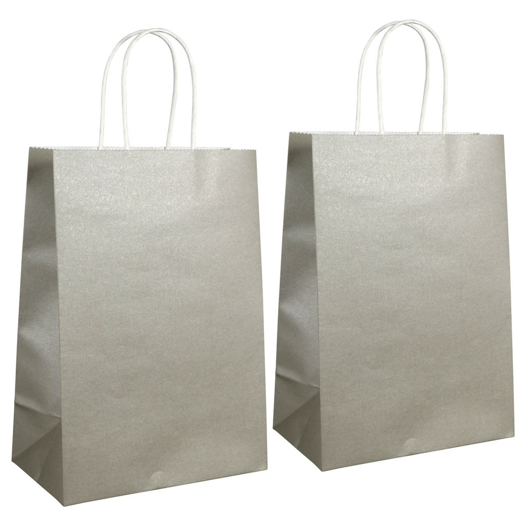 Silver Kraft Paper Gift Bags 2 Ct Packs