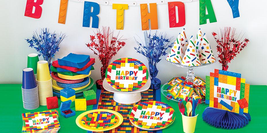 Unique Balloons /& Decorations Building Blocks Party Supplies Tableware