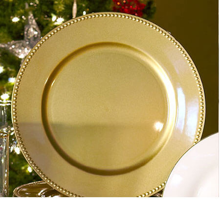 Gold Charger White Plate