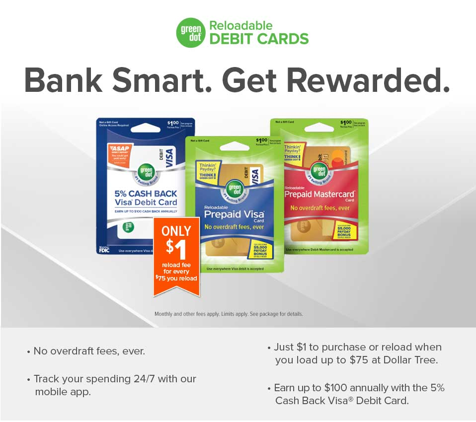 shop for reload green dot reloadable prepaid cards at dollar - Where Can I Get A Prepaid Card