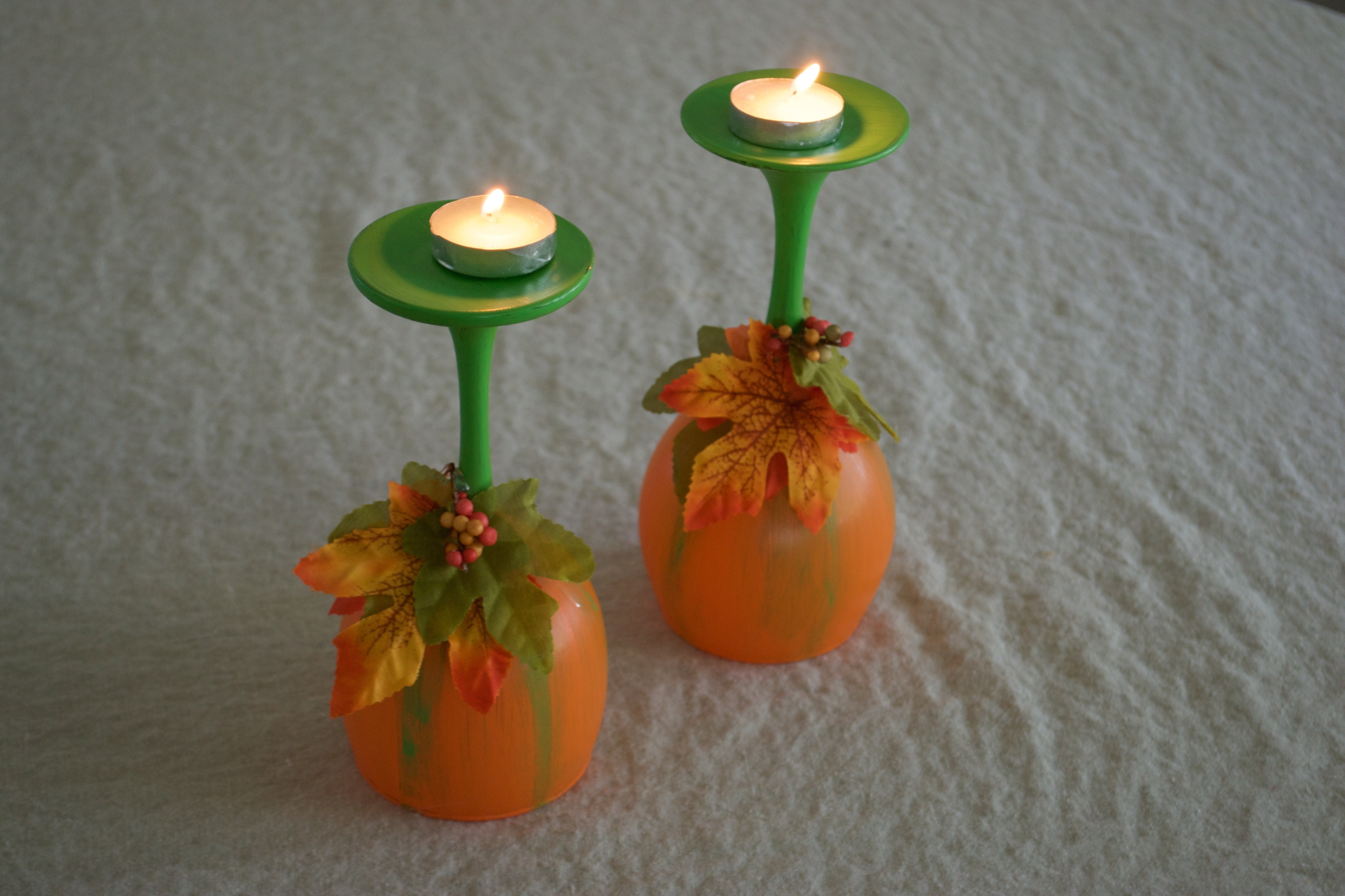 Diy Pumpkin Wine Glass Candleholders Dollar Tree