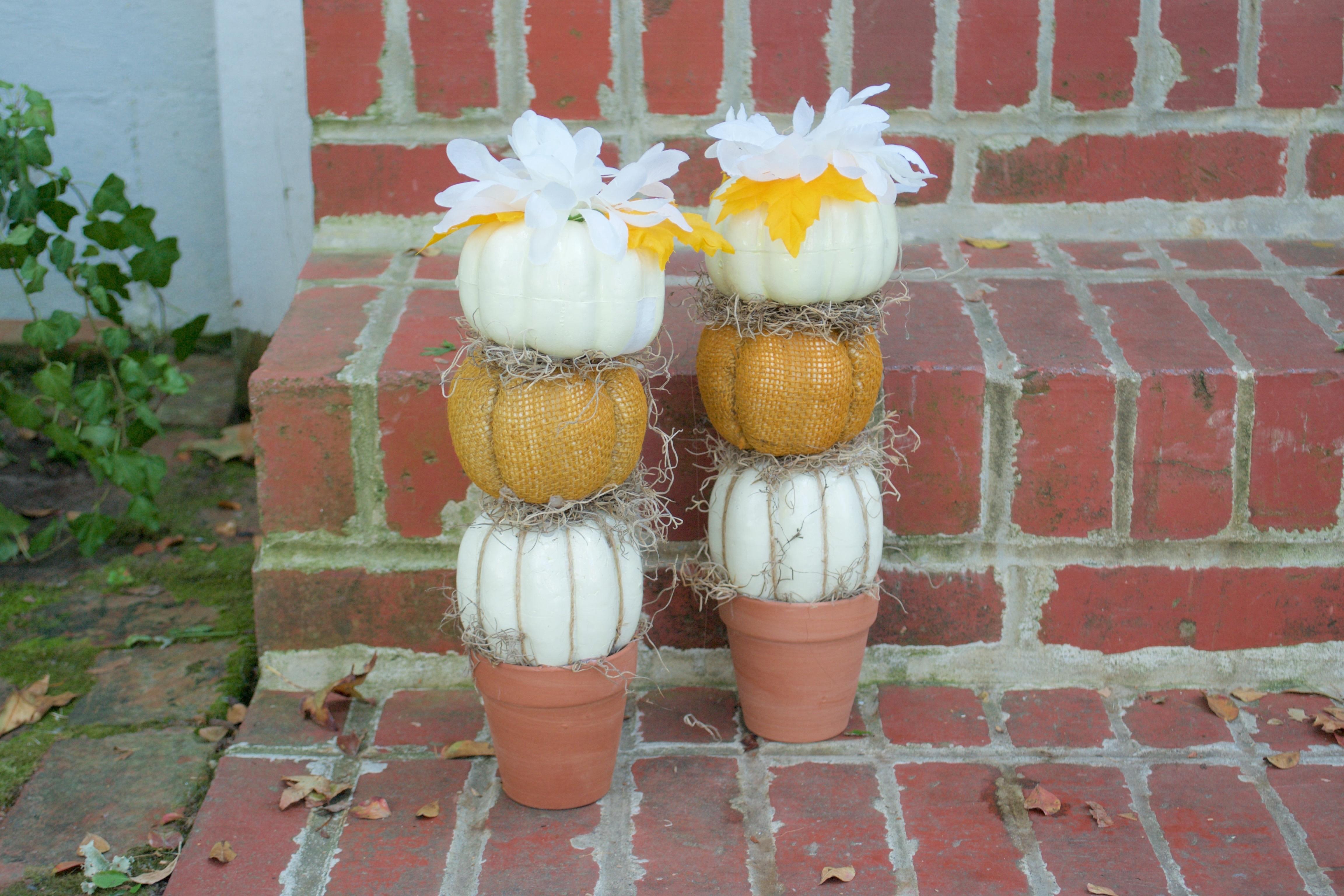 Diy Farmhouse Pumpkin Topiary Dollar Tree