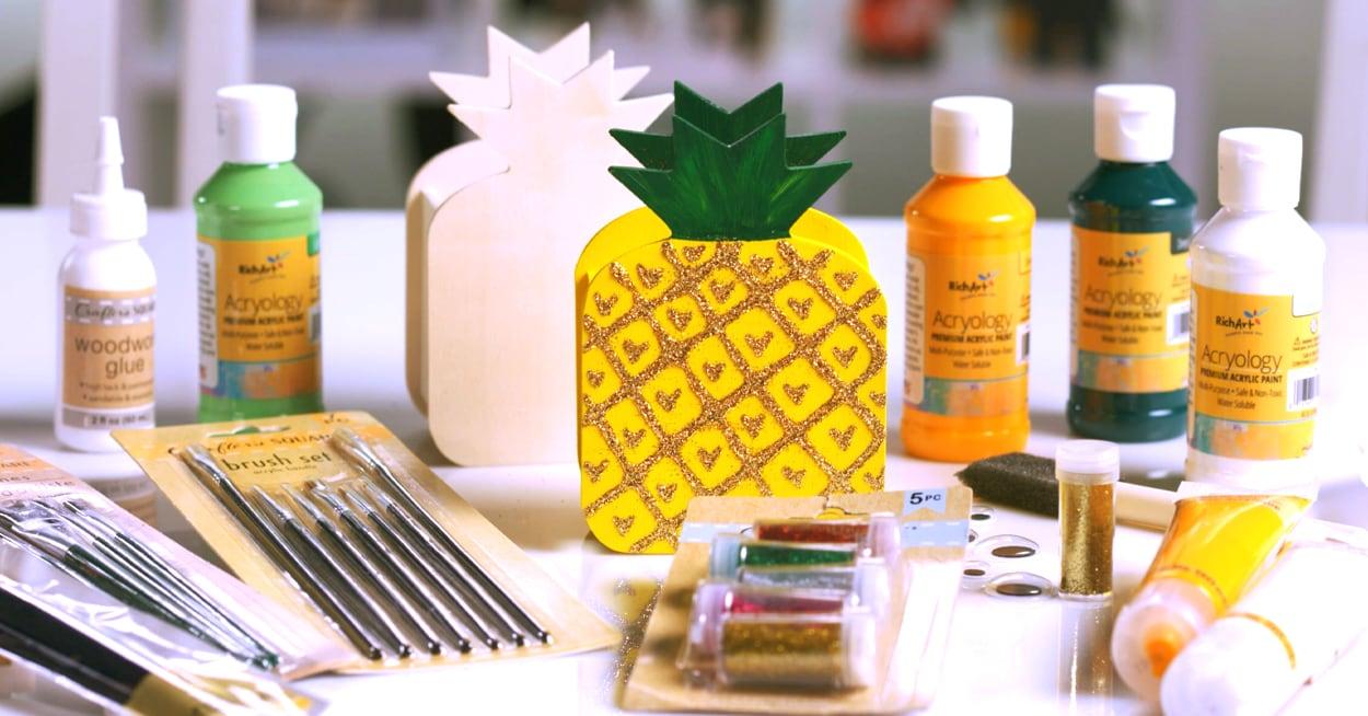 Glittery Wooden Pineapple Desk Organizer Dollar Tree